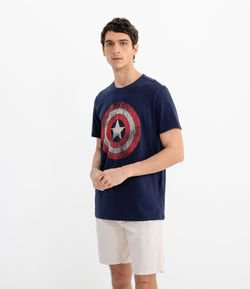 Remera con Estampa Marvel Capitan America
