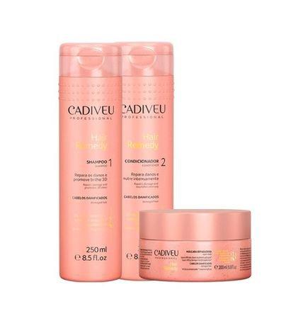 32bbcfcd2 Kit Tratamento Hair Remedy Shampoo + Condicionador + Máscara Cadiveu