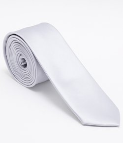 Corbata Masculina Slim Lisa Color Blanca