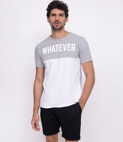 Camiseta Slim Bicolor com Estampa