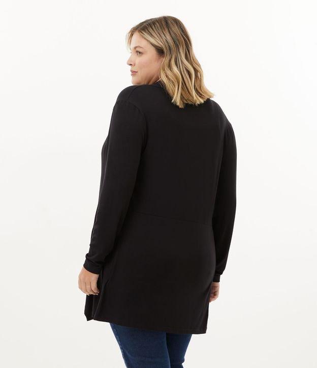 Casaco Alongado em Viscolycra com Pontas Curve & Plus Size | Ashua Curve e Plus Size | Preto | GG