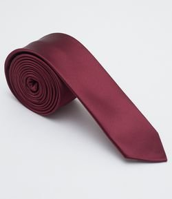 Corbata Masculina Slim Fit Bordo Lisa