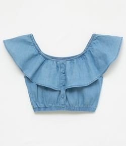 Blusa Jeans Cropped Ombro a Ombro