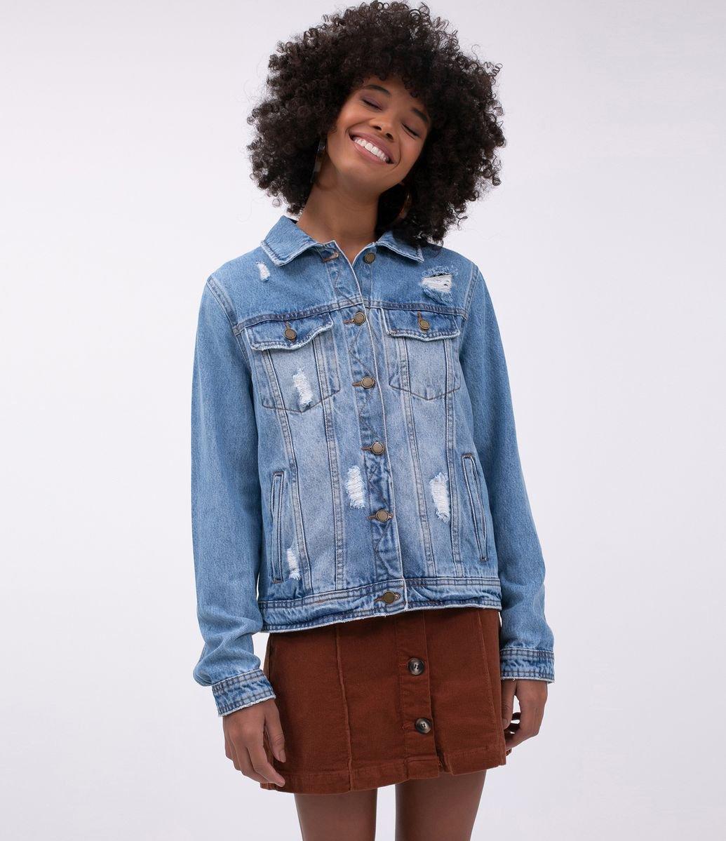 bb49493e181a9 Jaqueta Jeans com Puídos - Renner
