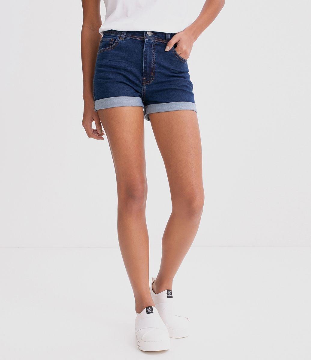 bcba50567 Short Jeans Hot Pants com Barra Dobrada - Renner