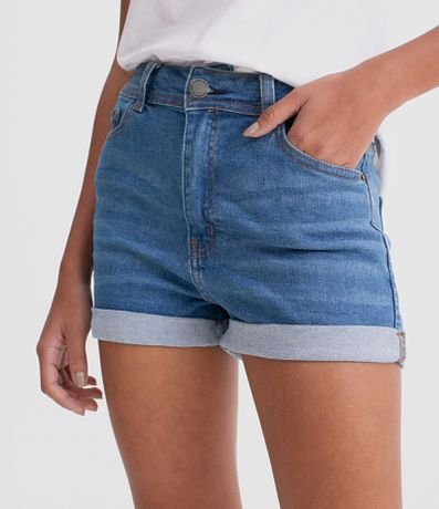 Short Jeans Hot Pants com Barra Dobrada