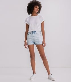 Short Hot Pants com Barra Dobrada