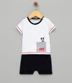 9e386bad0d3 Conjunto Infantil Camiseta com Silk Mickey e Bermuda em Moletom - Tam 0 a  18 meses