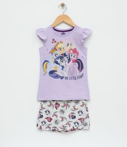 Conjunto Infantil Blusa com Estampa My Little Pony e Short - Tam 4 a 12 9f97bab8fb