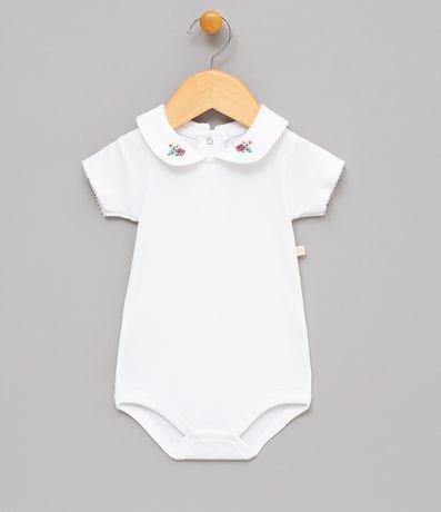 Body Infantil com Gola Bordada - Tam 0 a 18 meses