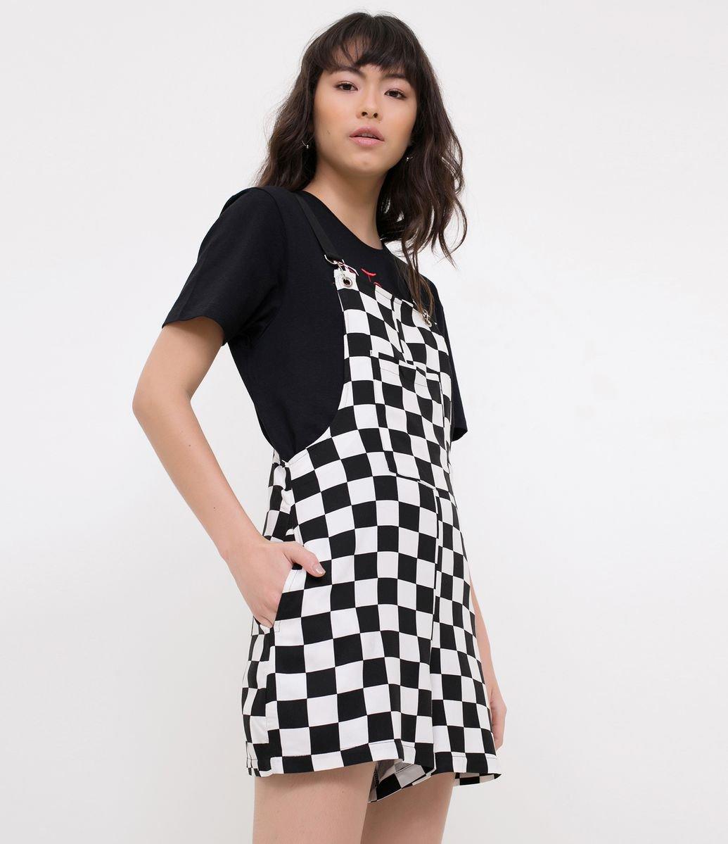 Detalhes. macacão feminino  Modelo curto  Xadrez racing  Com bolso frontal   Marca  Blue Steel  Tecido  viscose ... 7ea2551406e