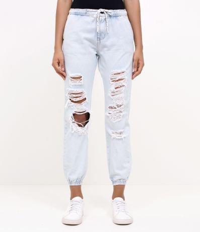 Calça Jeans Jogging com Puídos