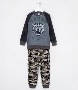Pijama Infantil em Fleece Estampa Young and Strong - Tam 6 a 14 anos