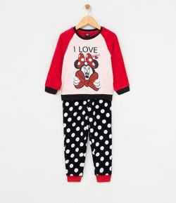 Pijama Infantil en Fleece Estampa Minnie Tam 1 a 4