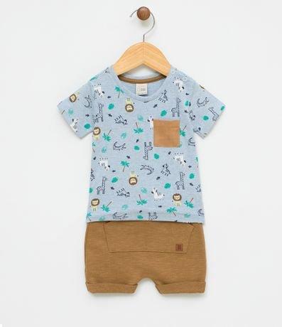 Conjunto Infantil Camiseta com Estampa e Bermuda - Tam 0 a 18 meses