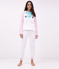 Pijama Manga Larga en Fleece Bordado Unicornio