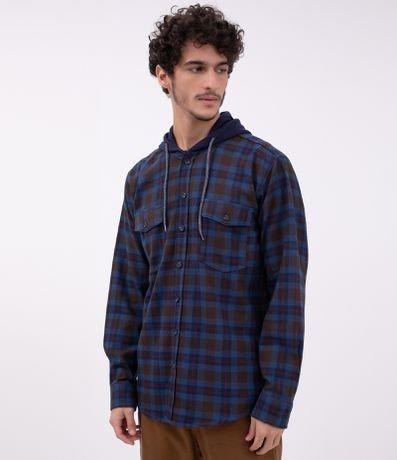 Camisa Xadrez com Bolso e Capuz