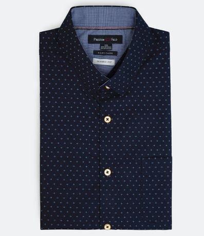 Camisa Manga Curta Estampa Micro com Bolso