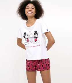 Pijama Manga Curta Estampa Mickey