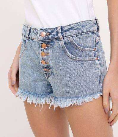 Short Cintura Alta Jeans Marmorizado