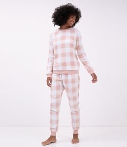 Pijama Manga Larga en Fleece Vichy