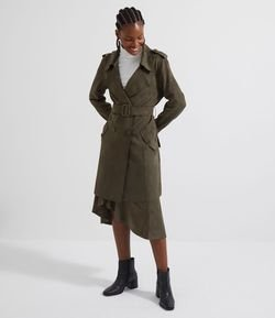 Chaqueta Trench Coat en Falso Suede