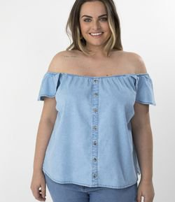 Blusa Jeans Ombro a Ombro Curve & Plus Size