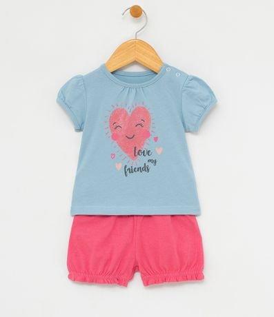 530d99fe44e57 Conjunto Infantil Blusa Coração com Short Fofo - Tam 0 a 18 meses