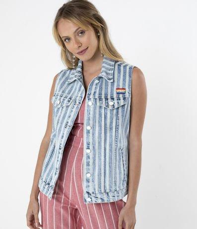 Colete Jeans Listrado com Bordado Venice