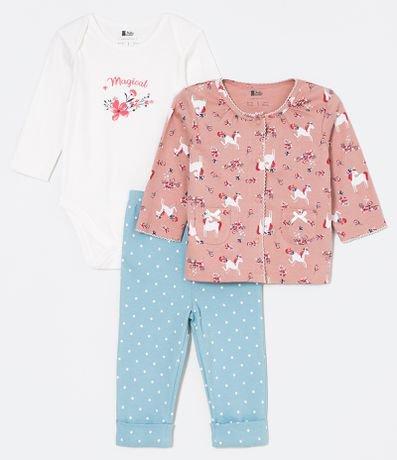 e6b100d734 Conjunto Infantil Casaquinho de Botões com Body e Calça - Tam 0 a 18 meses