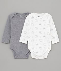 Kit Body Infantil Estampado e Liso - Tam 0 a 18 meses