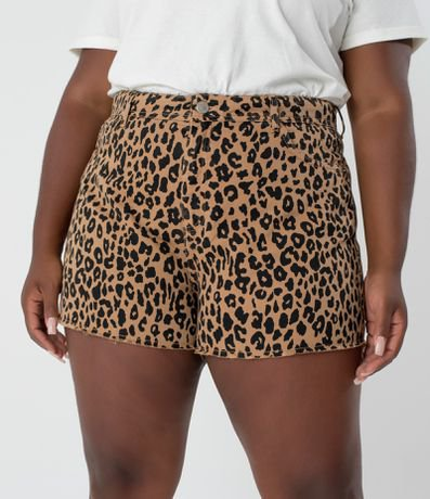 Short Bofriend em Sarja Animal Print Curve & Plus Size