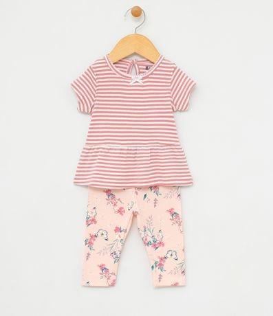 Conjunto Infantil Blusa Listrada com Laçinho e Calça Legging Floral - Tam 0 a 18 meses