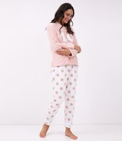 Pijama en Fleece con Estampa Love