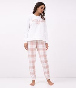 Pijama en Fleece con Estampa Dream on