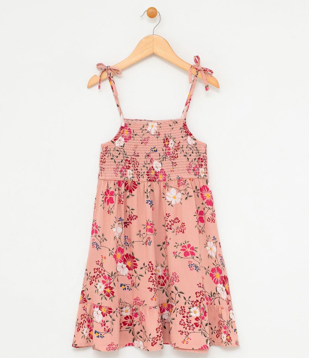 a0519030614e ... Vestido Infantil com Alcinha Estampa Floral - Tam 5 a 14. Brinde