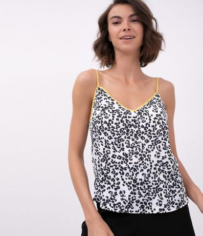 Regata Animal Print com Decote Contrastante