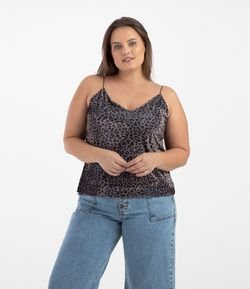 Regata em Veludo Animal Print Curve & Plus Size