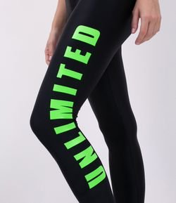 Calça Legging Esportiva Estampa Unlimited Neon