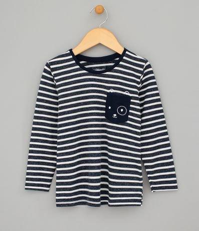 Camiseta Listrada com Bolso Estampado - Tam 1 a 4