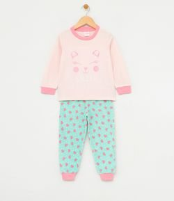 Pijama Fleece Infantil Estampado - Tam 1 a 4