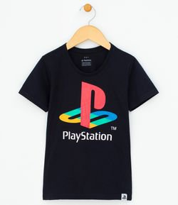 Camiseta Infantil com Estampa Playstation - Tam 5 a 14