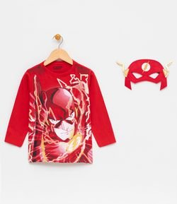 Camiseta Infantil com Estampa e Máscara Flash - Tam 2 a 12