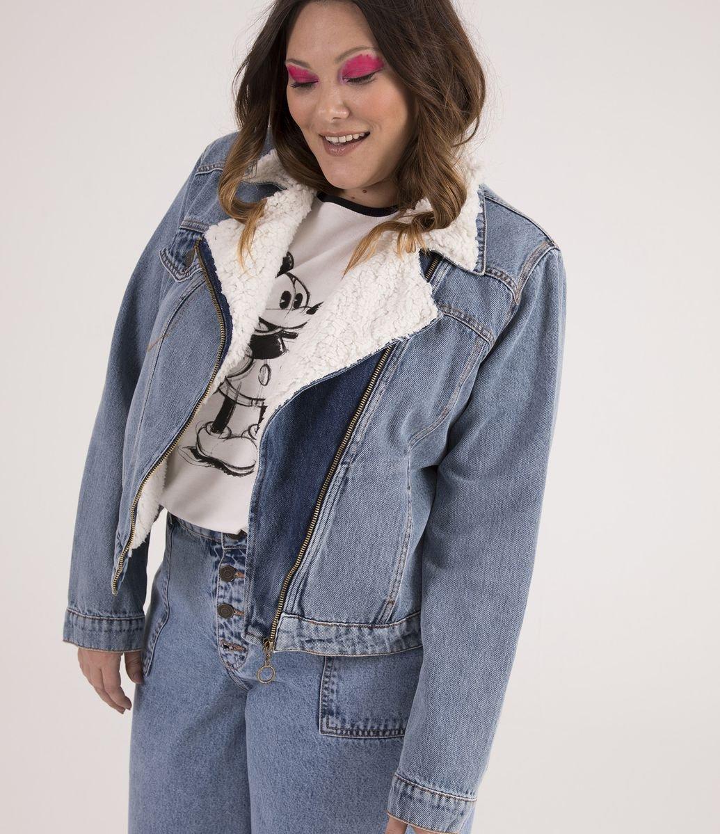 36003ad71c Jaqueta Jeans Biker com Pelos Sintéticos Curve   Plus Size - Renner