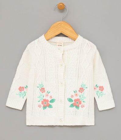 Cardigan Infantil com Bordado Floral - Tam 0 a 18 meses