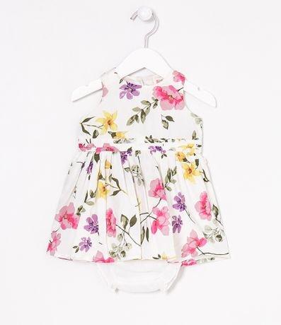 Vestidos Infantil Plissado Estampa Floral com Calcinha - Tam 0 a 18 meses