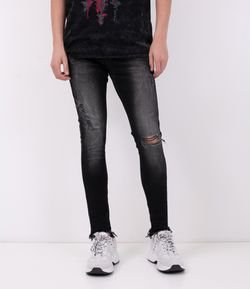 Calça Jeans Super Skinny Destroyed