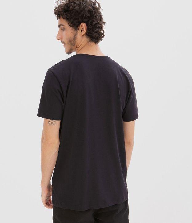 Camiseta com Recorte e Bolso em Suede | Blue Steel | Preto | P