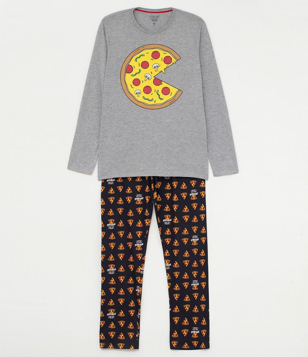 85b2bed0ab783e Pijama Longo com Estampa Pizza