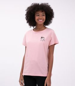 Remera Femenina con Bordado Pug